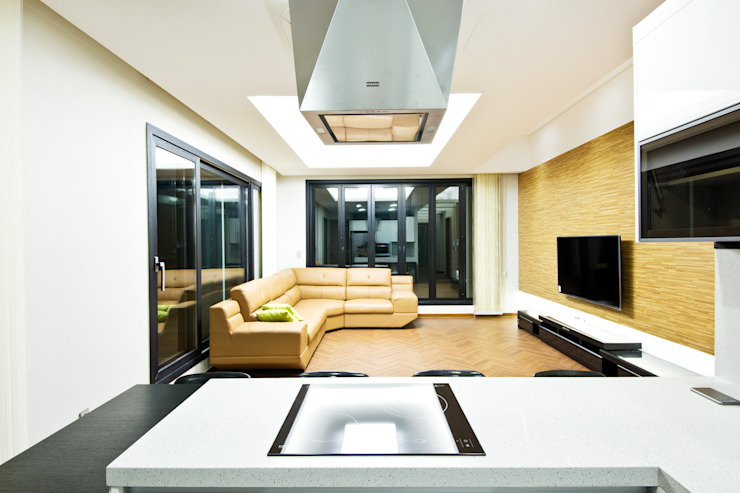 구산동 근린생활시설+주택 스칸디나비아 거실 by GongGam Urban Architecture & Construction 북유럽
