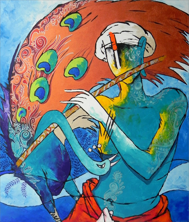 Kanha Playing Flute : asian  by Indian Art Ideas,Asian