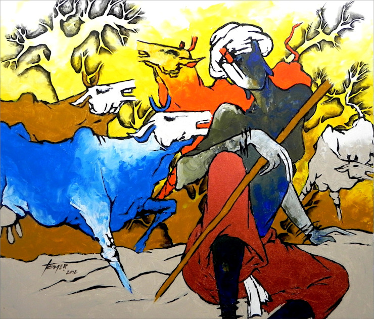 Kanha with Cows: asian  by Indian Art Ideas,Asian