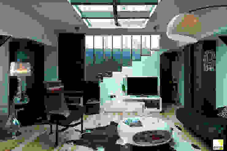 Vue de l'entrée et du salon Couloir, entrée, escaliers modernes par Elisabeth Manguin Architecte Moderne Métal