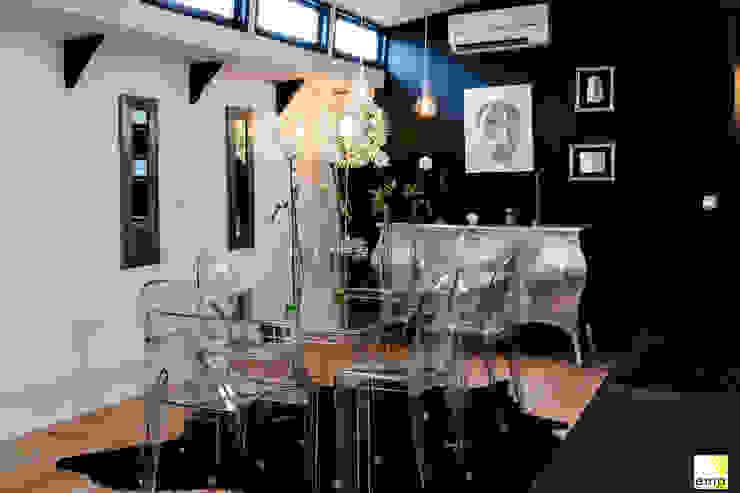 Vue de la salle à manger Salle à manger moderne par Elisabeth Manguin Architecte Moderne Bois massif Multicolore