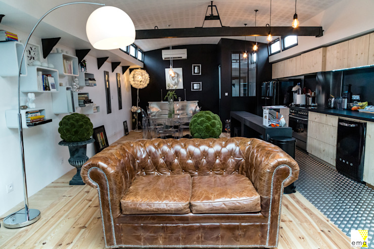 Vue du salon et de la salle à manger Salon moderne par Elisabeth Manguin Architecte Moderne Bois Effet bois