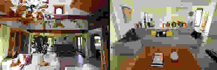 zwaar rustieke fermette wordt luchtig en strak Moderne woonkamers van Sfeerontwerp Modern