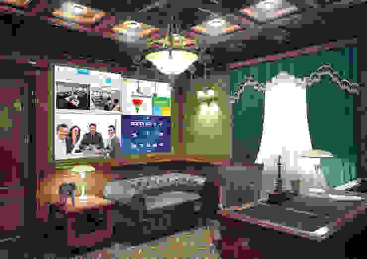 Умный дом - рабочий кабинет руководителя, видеостена. Рабочий кабинет в классическом стиле от Первая Мультимедийная компания Классический