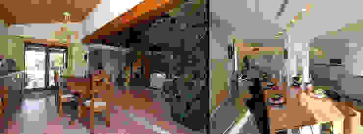 Fermette rustique se transforme en espace contemporain Sfeerontwerp | créateur d'atmosphère Salle à manger moderne