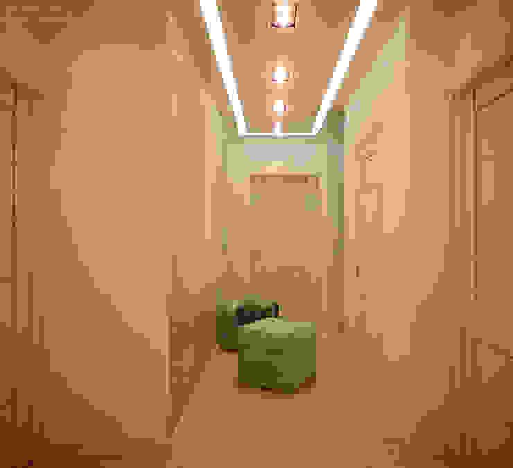 """Дизайн холла в современном стиле в ЖК """"Династия"""" Коридор, прихожая и лестница в модерн стиле от Студия интерьерного дизайна happy.design Модерн"""