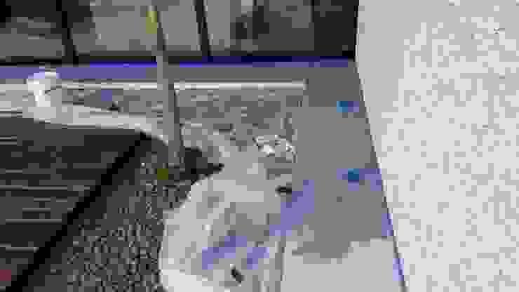 Aplicacion de microcemento en paredes exteriores de jardin Albercas modernas de Marlux import Moderno Cerámico