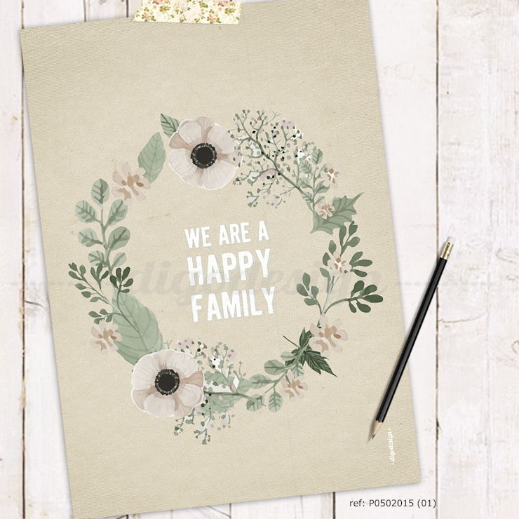★ poster ★ we are a happy family ★ por Digo Campestre Papel