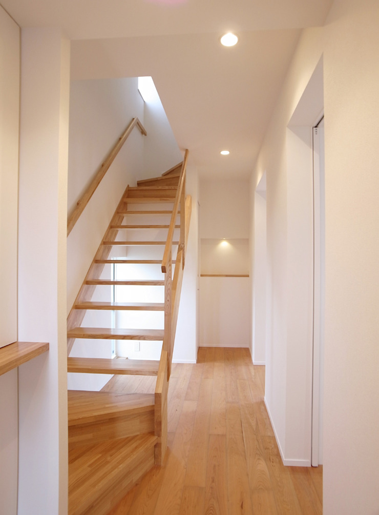 祐成大秀建築設計事務所 Scandinavian style corridor, hallway& stairs Wood White