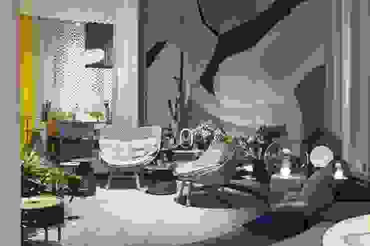 Salon centré par Art D.D.C Moderne Textile Ambre/Or