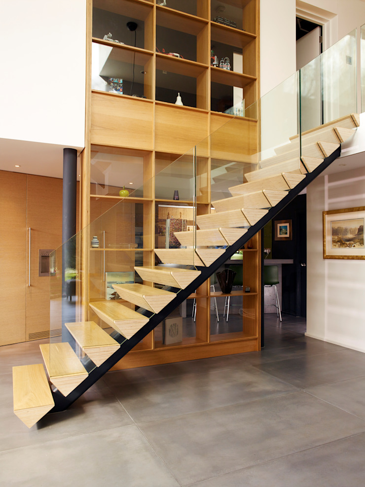 Stacked ply stair treads Modern Walls and Floors by Holloways of Ludlow Bespoke Kitchens & Cabinetry Modern Plywood