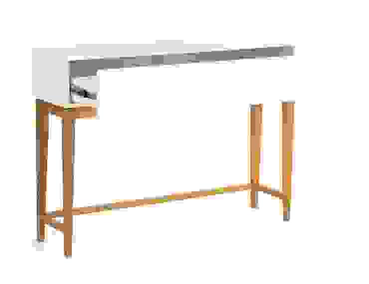 Stolik konsola z szufladą Blanco od onemarket.pl Skandynawski Drewno O efekcie drewna