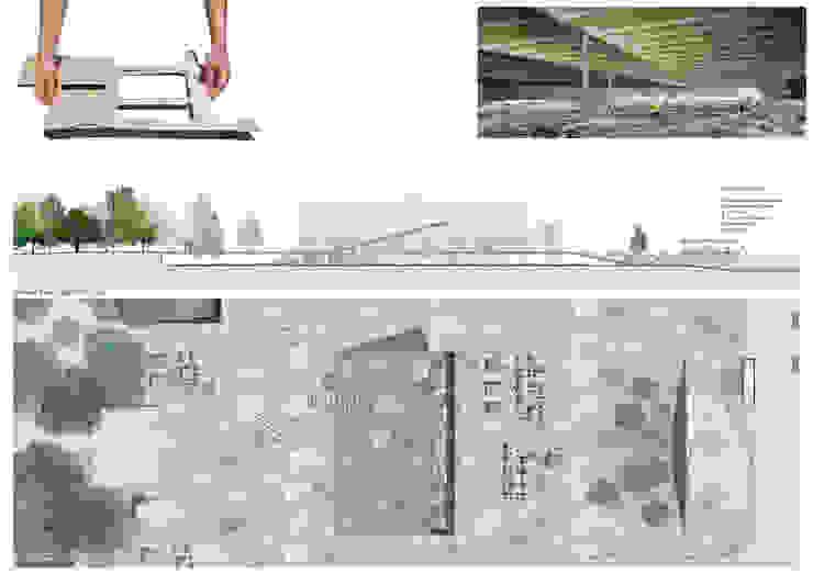 planta e secção parcial da praça por FORA Arquitectos