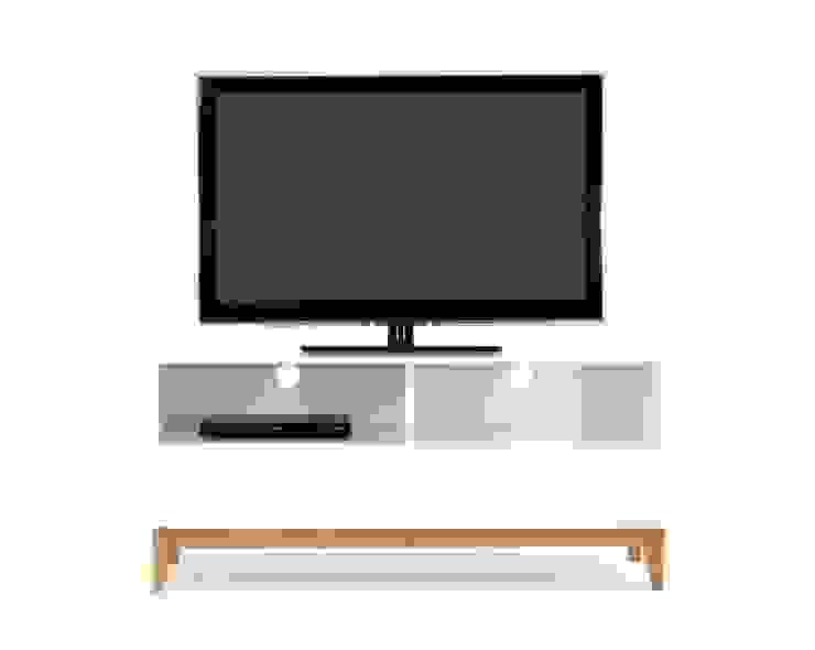Biały stolik RTV z szufladą Blanco od onemarket.pl Skandynawski Drewno O efekcie drewna