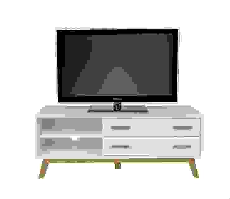 Biały stolik RTV z szufladami Kensal Nordic od onemarket.pl Skandynawski Drewno O efekcie drewna