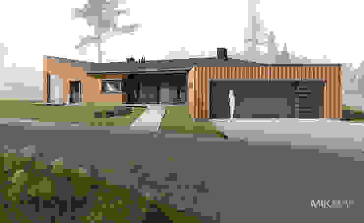 Projekt domu w Szprotawie Nowoczesne domy od MIKMAK architekci Nowoczesny Drewno O efekcie drewna