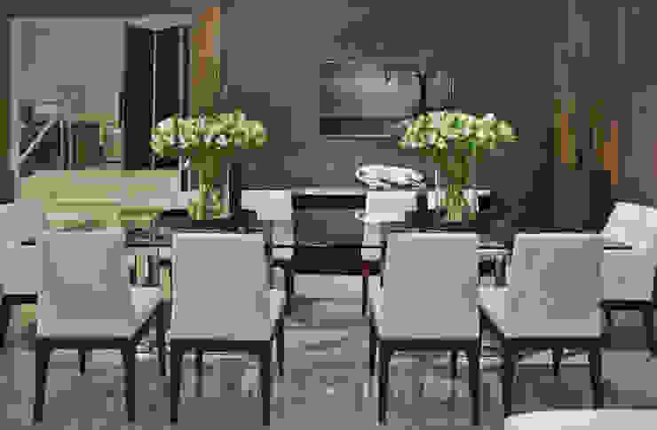 detalhe mesa de jantar Salas de jantar modernas por rafael egg arquitetura Moderno Madeira Efeito de madeira