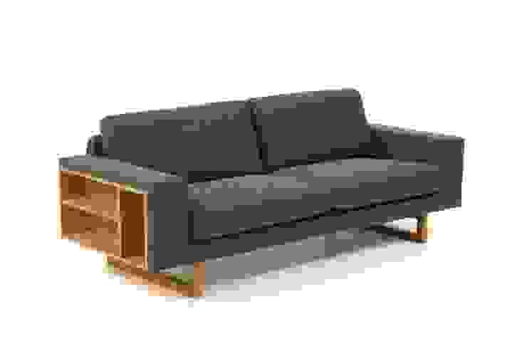 Piękna sofa na dębowych nogach Libreria od onemarket.pl Skandynawski Bawełna Czerwony