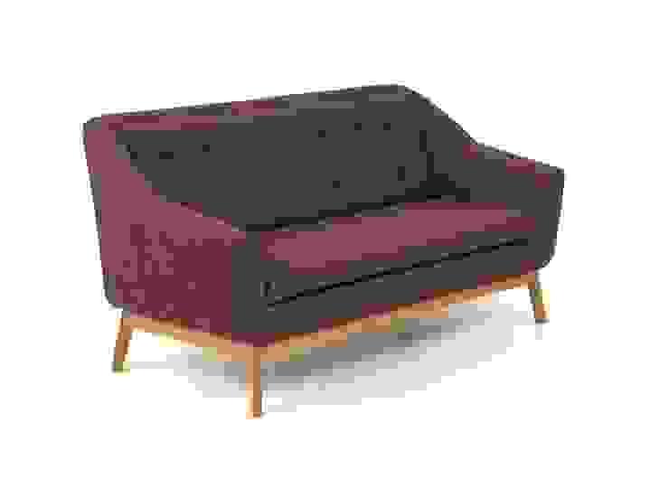 Piękna sofa na dębowych nogach Paula od onemarket.pl Skandynawski Syntetyk Brązowy