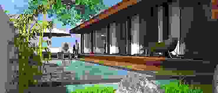 Imagem 3D Casas modernas por Lethes House Moderno Madeira Acabamento em madeira
