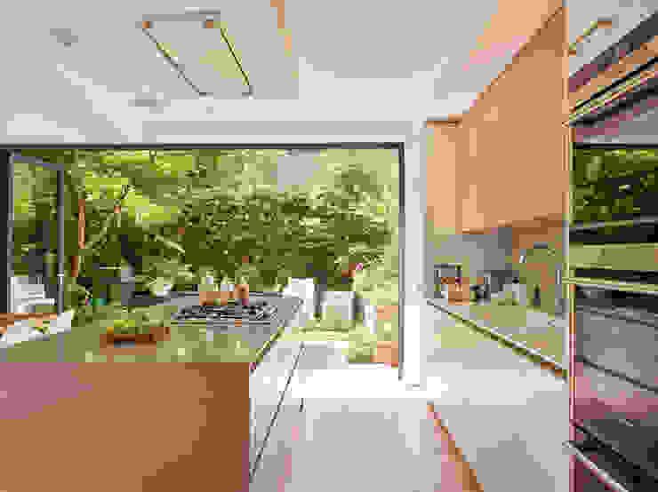 Garden view from kitchen door Modern kitchen by Holloways of Ludlow Bespoke Kitchens & Cabinetry Modern Wood Wood effect
