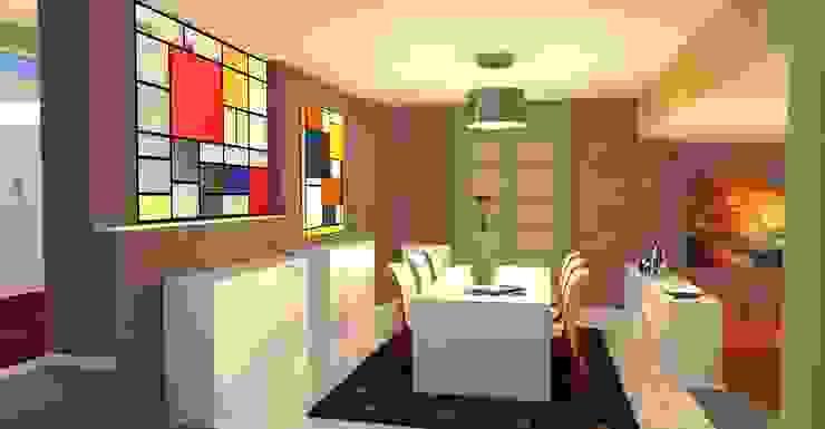 Vista della zona pranzo- Dining room view Sala da pranzo moderna di Planet G Moderno