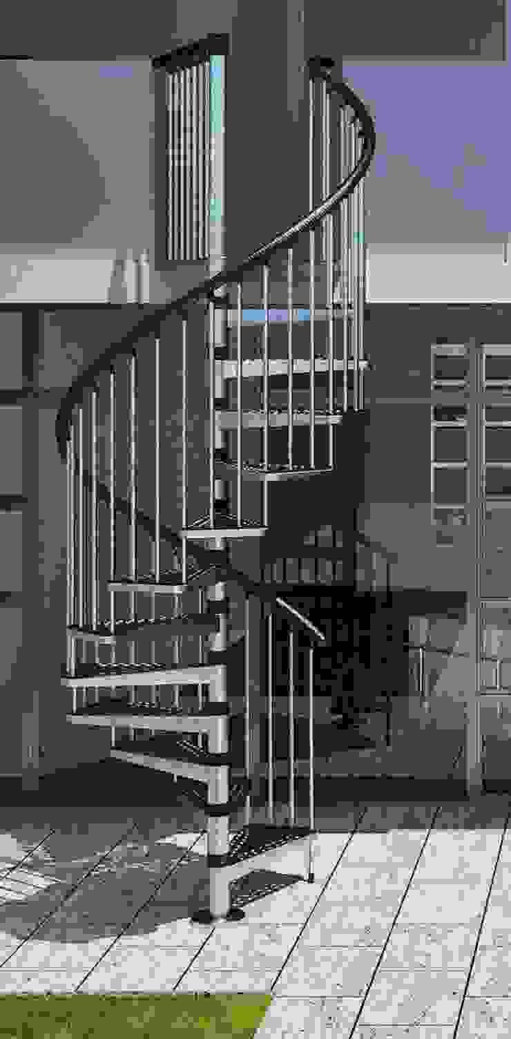 3 escalones por cada 90° para una perfecta distribución:  de estilo industrial por RINTAL, Industrial Metal