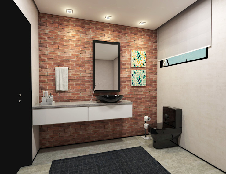 Eclectic style bathroom by Teia Archdecor Eclectic Bricks