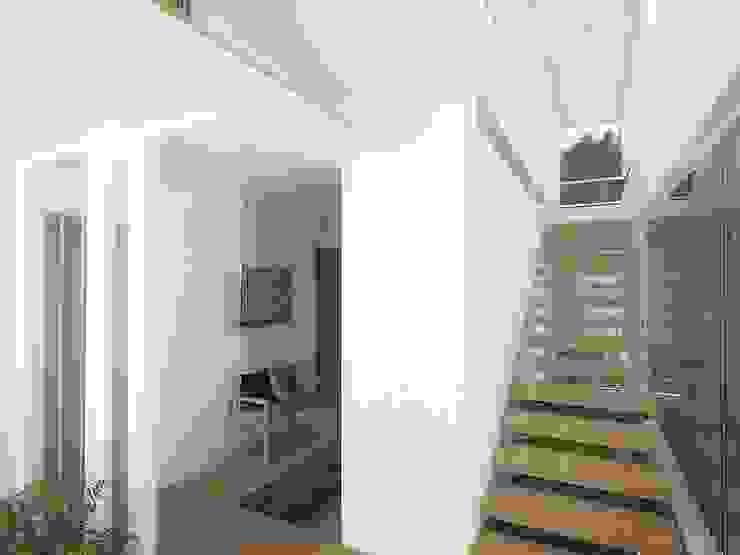 Casa – Taller RRA Arquitectura Pasillos, vestíbulos y escaleras de estilo minimalista Madera Blanco