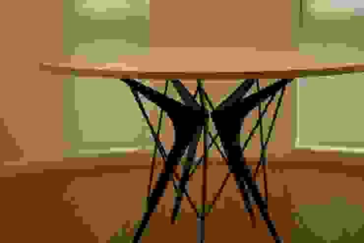テーブルの全体像 モダンデザインの ダイニング の 注文家具屋 フリーハンドイマイ モダン 木 木目調