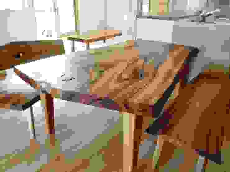 銘木のダイニング・テーブル: 木工房&ぎゃらりー ふじやんが手掛けた折衷的なです。,オリジナル