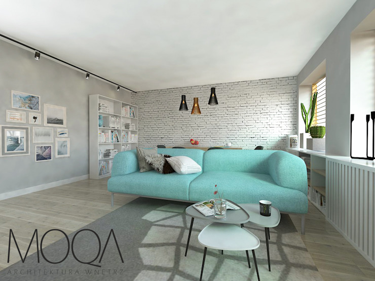 Salon - mieszkanie w bloku od MOQA Monika Lepczyńska