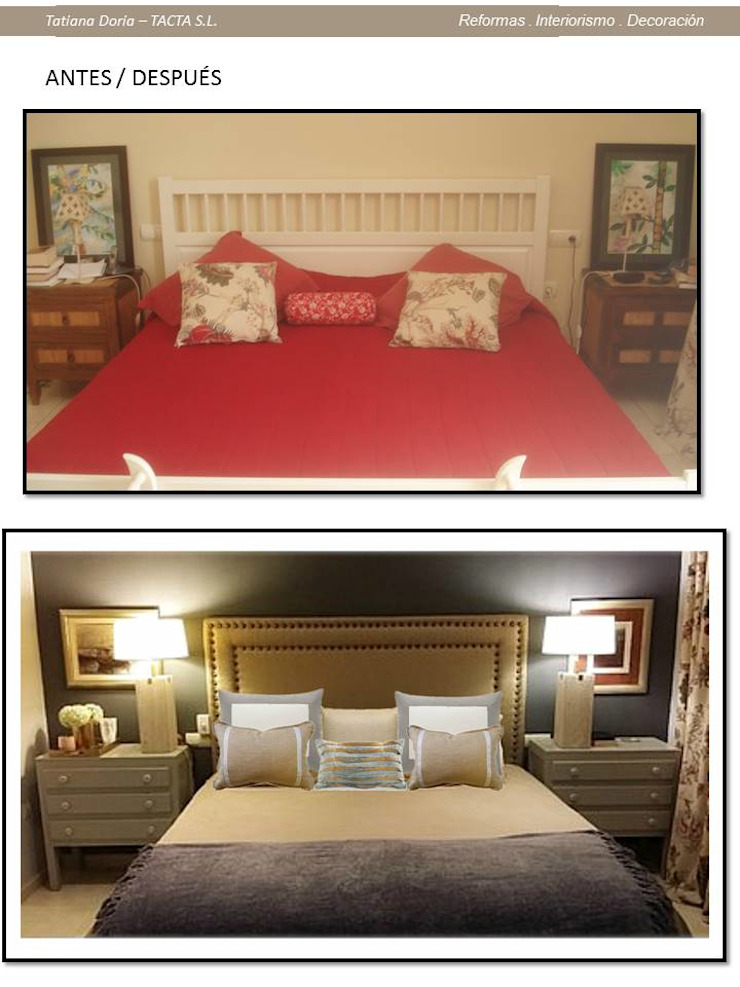 antes y después de dormitorio Tatiana Doria, Diseño de interiores DormitoriosCamas y cabeceros