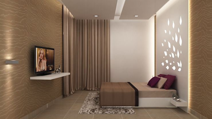 SALARPURIA SATTVA, MOCK UP APARTMENT, BANGALORE. (www.depanache.in):  Bedroom by De Panache  - Interior Architects
