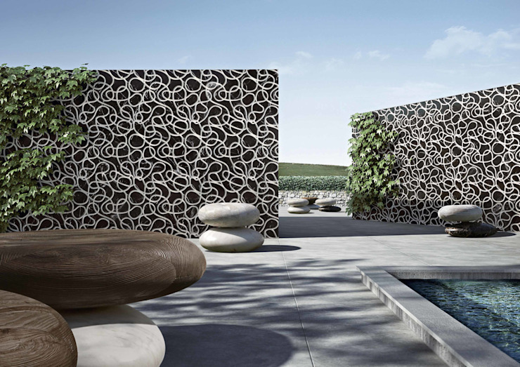 Swimming Pool wallcovering and seats Kreoo Piscine Marbre Noir