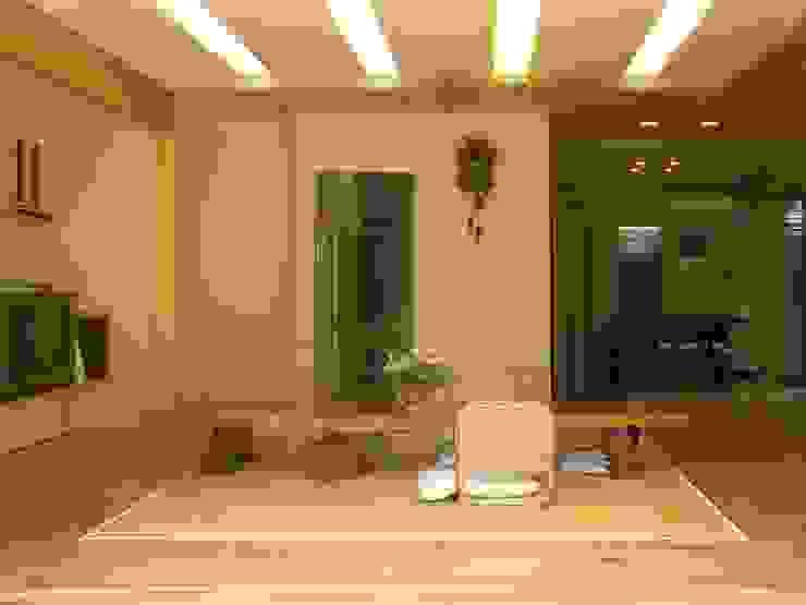 リビング、ダイニング モダンデザインの リビング の アンドウ設計事務所 モダン 無垢材 多色