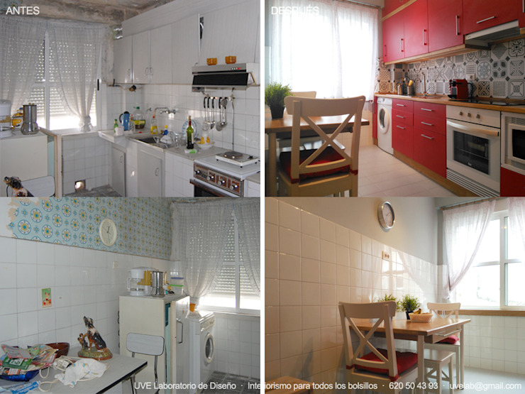 ANTES Y DESPUÉS - Reforma de cocina en Matogrande Cocinas modernas de UVE laboratorio de diseño Moderno
