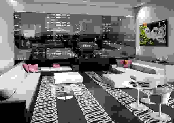 Living Room flooring 现代客厅設計點子、靈感 & 圖片 根據 Kreoo 現代風 大理石