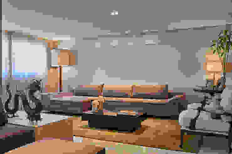 Sala de Estar- Lareira Salas de estar modernas por Juliana Goulart Arquitetura e Design de Interiores Moderno Derivados de madeira Transparente