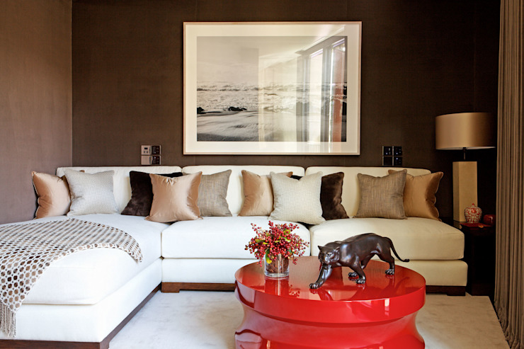Fabric walling in the living room Modern living room by Mille Couleurs London Modern