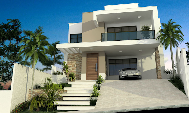 Casas estilo moderno: ideas, arquitectura e imágenes de valente arquitetura e construção Moderno Ladrillos