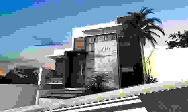 Rumah Modern Oleh valente arquitetura e construção Modern Batu Bata