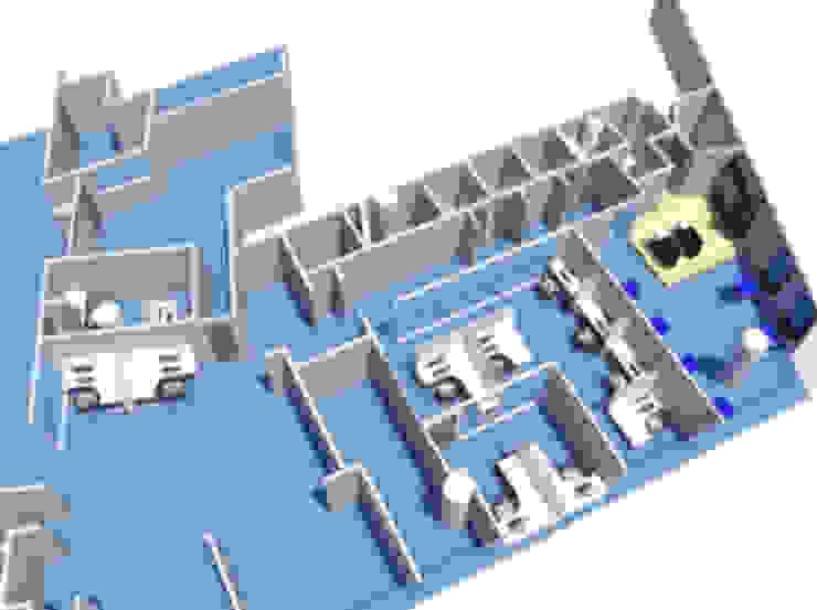 Propuesta nuevas oficinas y salón de talleres Constructora G-9 Oficinas de estilo moderno Azul