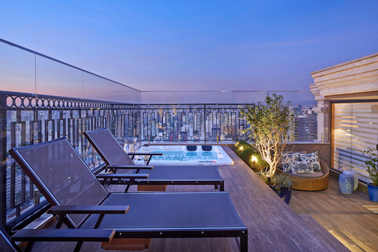 TERRAÇO E SPA Varandas, alpendres e terraços modernos por Juliana Goulart Arquitetura e Design de Interiores Moderno