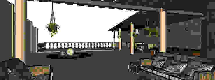 vista desde sala Balcones y terrazas rústicos de PRISMA ARQUITECTOS Rústico