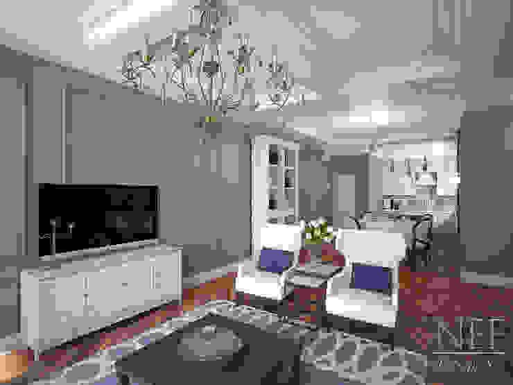 Квартира 126 кв.м. Современная классика. Transitional: Гостиная в . Автор – Юлия Паршихина