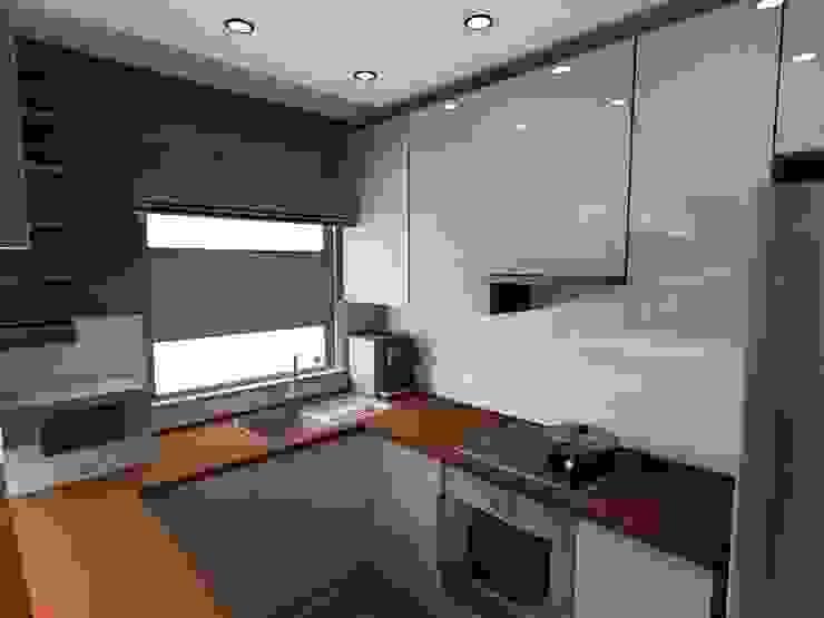 salon z kuchnią Nowoczesna kuchnia od Plan Design Katarzyna Szczucka Projektowanie Wnętrz Nowoczesny