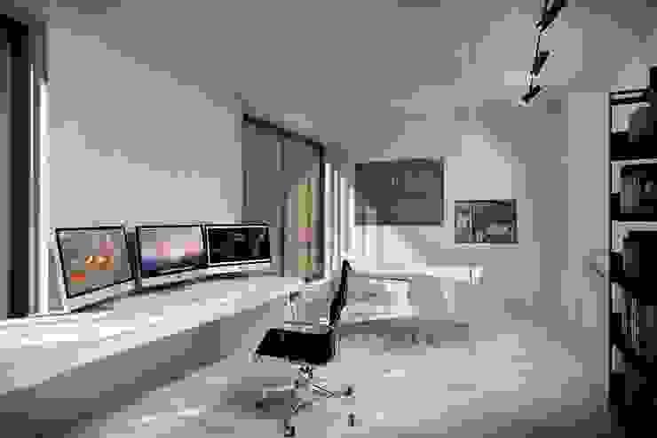 Green House Studio Minimalistyczne domowe biuro i gabinet od OMCD Architects Minimalistyczny Beton