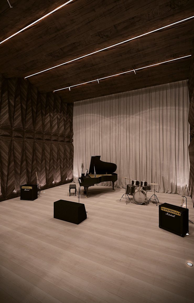 Green House Studio Minimalistyczny pokój multimedialny od OMCD Architects Minimalistyczny Drewno O efekcie drewna