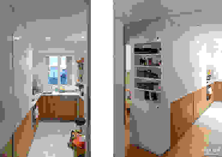 Кухня в скандинавском стиле от Belle Ville Atelier d'Architecture Скандинавский Дерево Эффект древесины